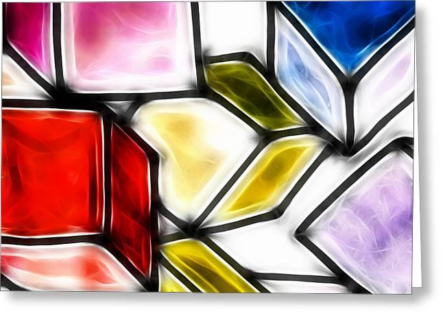 Geometric Art Greeting Cards - Fractalius cubes Greeting Card by Sharon Lisa Clarke