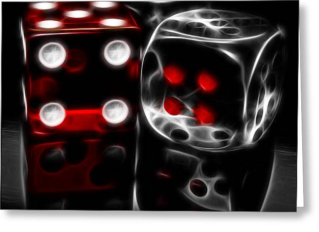 Fractalius Dice Greeting Card by Shane Bechler