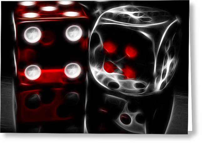 Las Vegas Mixed Media Greeting Cards - Fractalius Dice Greeting Card by Shane Bechler
