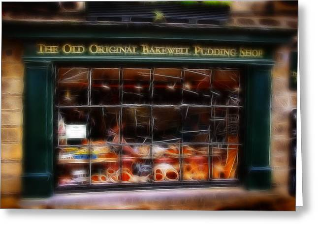 History Derbyshire Greeting Cards - Fractalius Old Original Bakewell Pudding Shop Greeting Card by Michael Braham