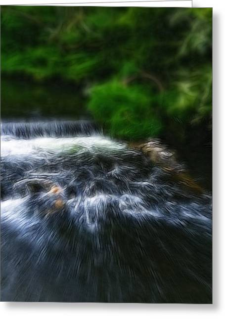 Fractalius - River Wye Waterfall - In Peak District - England Greeting Card by Doc Braham