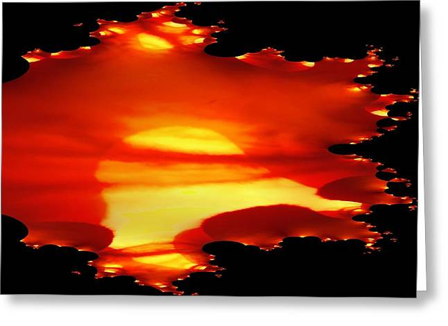Sunrise Digital Art Greeting Cards - Fractual Of A Sunrise Greeting Card by Jeff  Swan