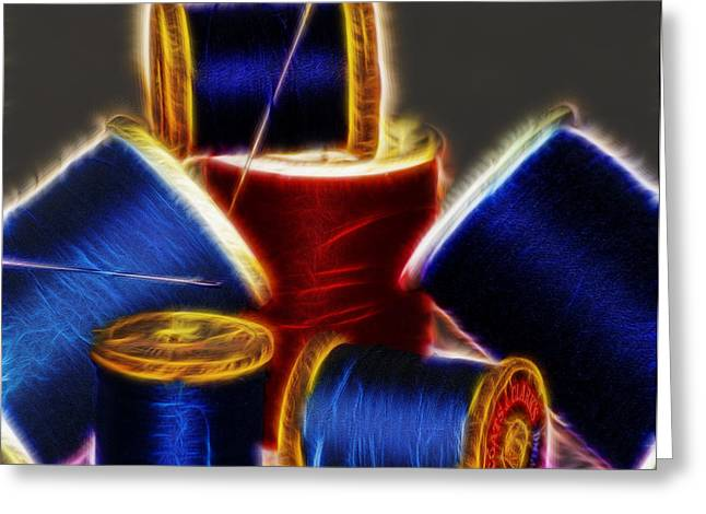 Repaired Digital Art Greeting Cards - Fractual thread Greeting Card by Camille Lopez