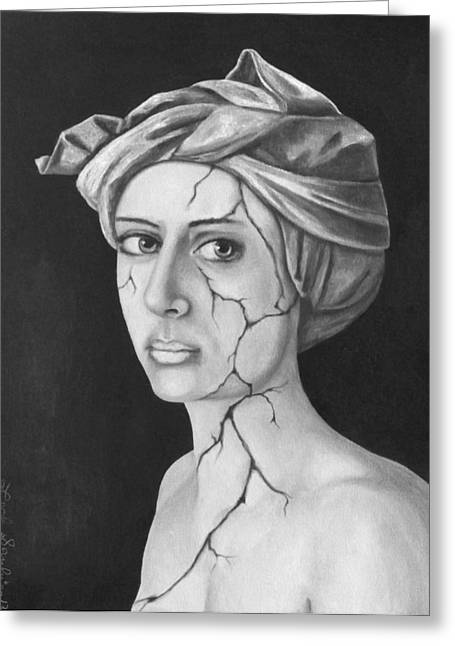 Head Wrap Greeting Cards - Fractured Identity BW Greeting Card by Leah Saulnier The Painting Maniac