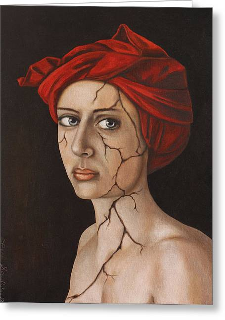 Head Wrap Greeting Cards - Fractured Identity edit 1 Greeting Card by Leah Saulnier The Painting Maniac