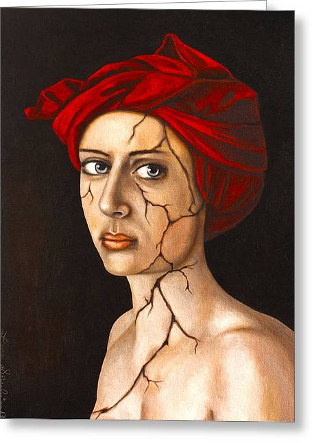 Head Wrap Greeting Cards - Fractured Identity edit 4 Greeting Card by Leah Saulnier The Painting Maniac