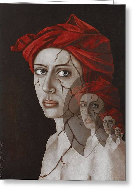 Head Wrap Greeting Cards - Fractured Identity Edit 8 Greeting Card by Leah Saulnier The Painting Maniac