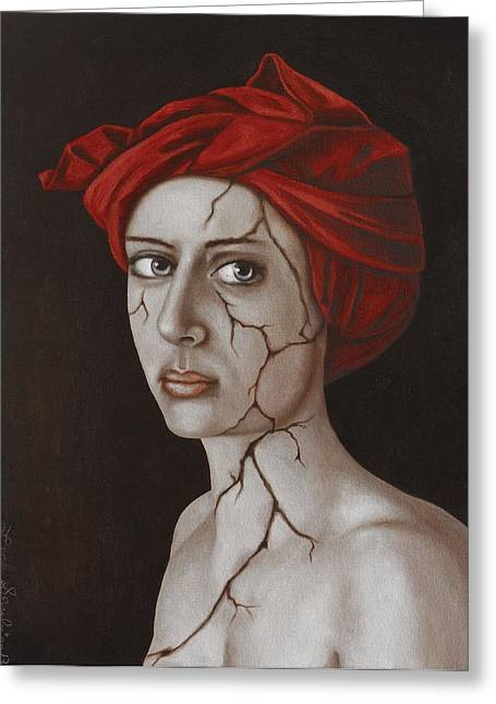 Strength Paintings Greeting Cards - Fractured Identity Edit 9 Greeting Card by Leah Saulnier The Painting Maniac