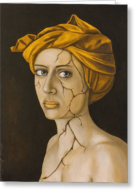 Head Wrap Greeting Cards - Fractured Identity in Gold Greeting Card by Leah Saulnier The Painting Maniac