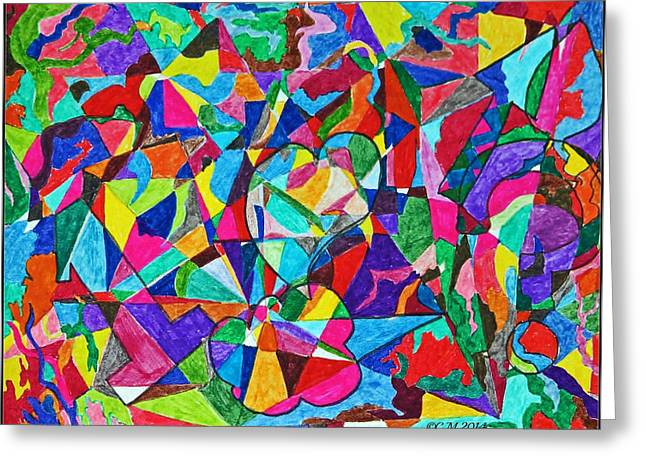 Fractured Kaleidoscope Greeting Card by Catherine Melvin