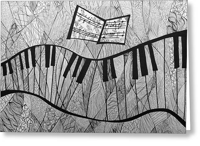Cubist Drawings Greeting Cards - Fractured Piano Pen and Ink Drawing Greeting Card by Ashley Grebe