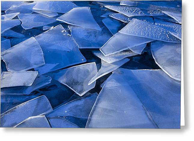 Nature Abstracts Greeting Cards - Fractured Surface Ice Drifted To The Greeting Card by John Hyde