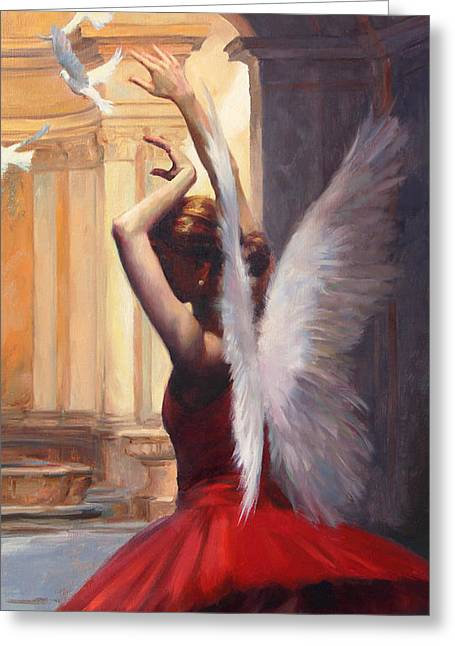 Ballet Dancers Paintings Greeting Cards - Fragile Grace Greeting Card by Anna Bain