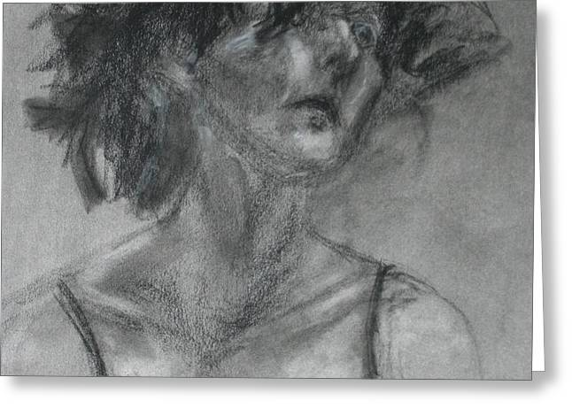 Spiritual Portrait Of Woman Greeting Cards - Gathering Strength - Original Charcoal Drawing - Contemporary Impressionist Art Greeting Card by Quin Sweetman