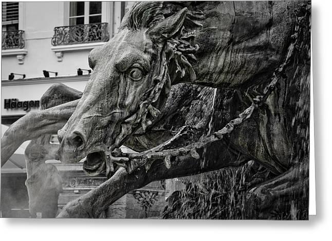 Fontain Greeting Cards - Fragment of Bartholdi fountain Greeting Card by Oleg Koryagin