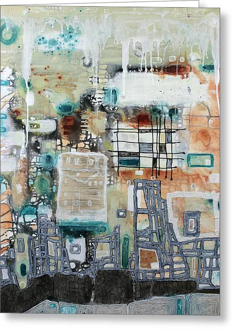 Earthy Raw Art Greeting Cards - Fragmented Urbanism II Greeting Card by Amber Maida