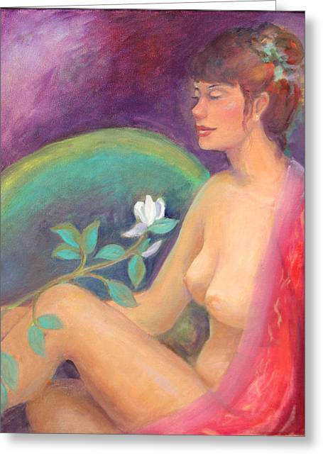 Nude Fantisy Greeting Cards - Fragrance of a Dream Greeting Card by Gwen Carroll