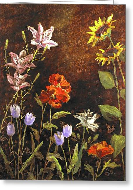 Mo Artist Paintings Greeting Cards - Fragrant Garden Greeting Card by Vic  Mastis