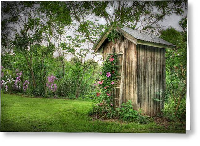 Watering Can Greeting Cards - Fragrant Outhouse Greeting Card by Lori Deiter