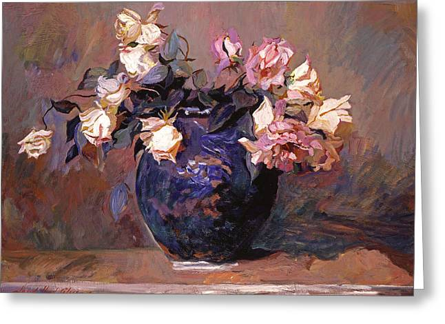 Ceramic Paintings Greeting Cards - Fragrant Rose Petals Greeting Card by David Lloyd Glover