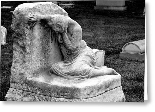 Best Sellers -  - Distraught Greeting Cards - Frailey Memorial Marker BW Chicago Illinois USA Greeting Card by Sally Rockefeller
