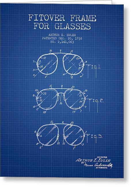 Eye Glasses Greeting Cards - Frame for Glasses patent from 1938 - Blueprint Greeting Card by Aged Pixel