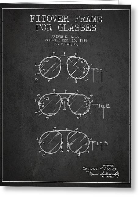 Sunglasses Greeting Cards - Frame for Glasses patent from 1938 - Dark Greeting Card by Aged Pixel