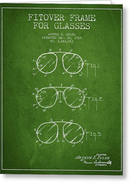 Sunglasses Greeting Cards - Frame for Glasses patent from 1938 - Green Greeting Card by Aged Pixel