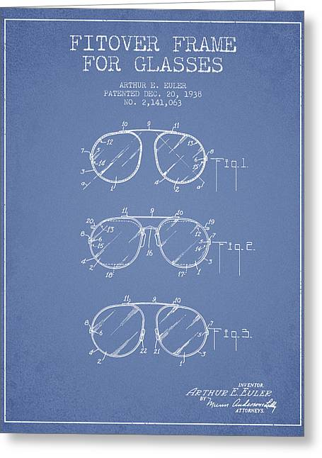 Sunglasses Greeting Cards - Frame for Glasses patent from 1938 - Light Blue Greeting Card by Aged Pixel