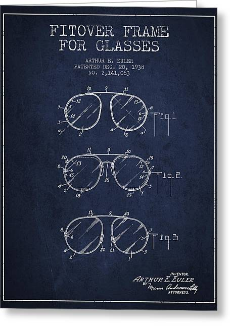 Sunglasses Greeting Cards - Frame for Glasses patent from 1938 - Navy Blue Greeting Card by Aged Pixel