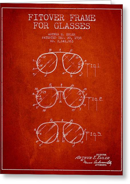 Sunglasses Greeting Cards - Frame for Glasses patent from 1938 - Red Greeting Card by Aged Pixel