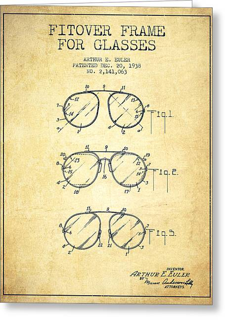 Sunglasses Greeting Cards - Frame for Glasses patent from 1938 - Vintage Greeting Card by Aged Pixel