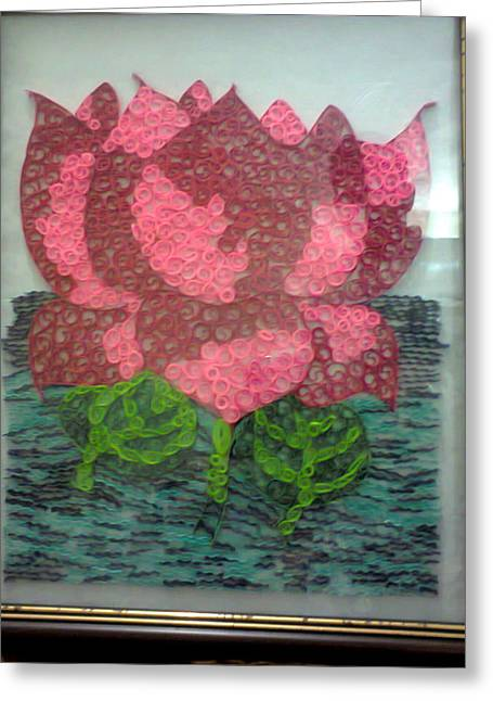 Quilling Greeting Cards - Framed and Quilled Lotus Greeting Card by Deepshikha Dey