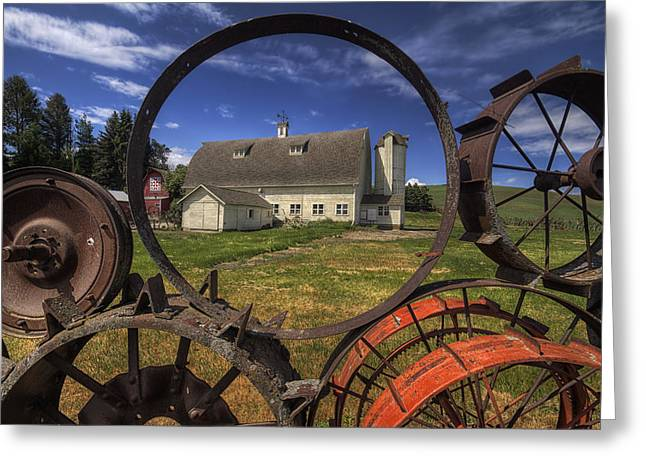 White Barns Greeting Cards - Framed by Wheels  Greeting Card by Mark Kiver