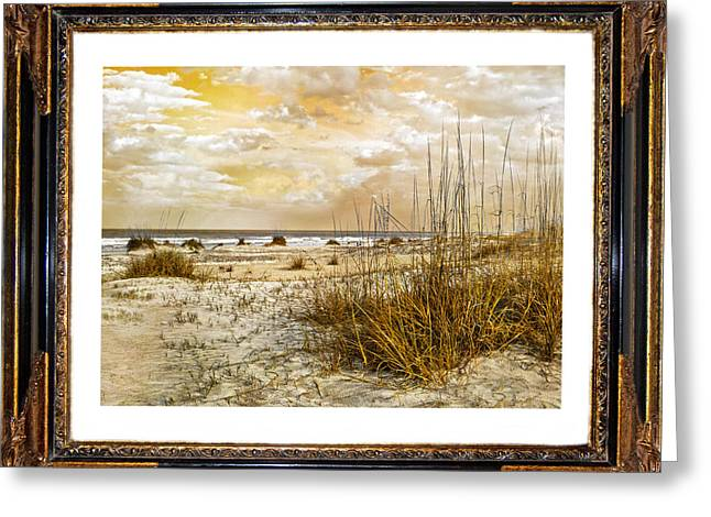 Sandy Beaches Greeting Cards - Framed Dunes Greeting Card by Betsy C  Knapp