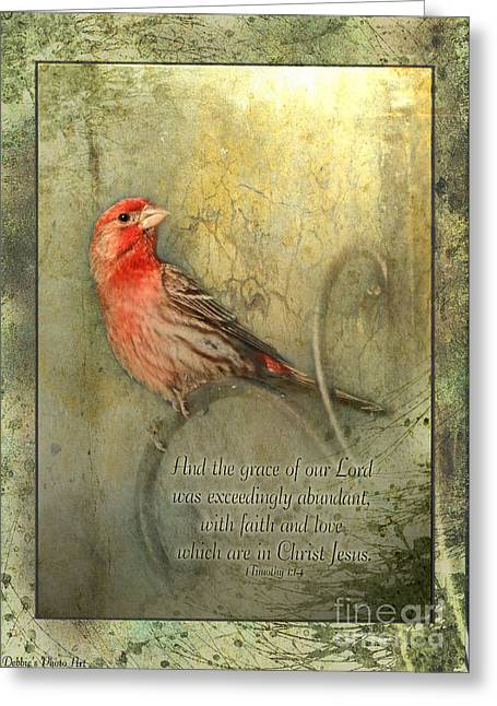 Bible Greeting Cards - Framed Finch with verse Greeting Card by Debbie Portwood