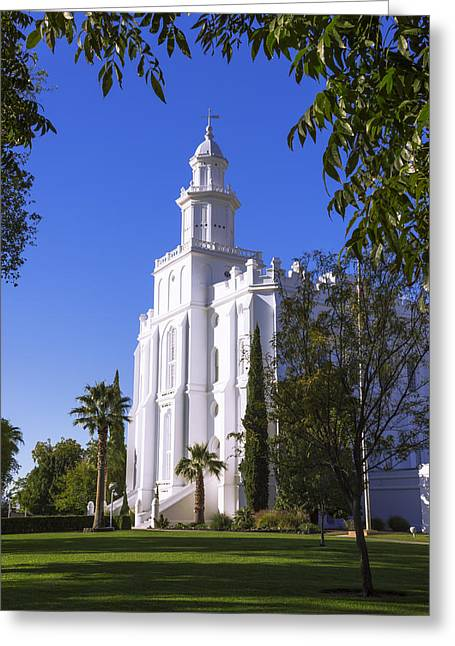 St. George Temple Greeting Cards - Framed House Greeting Card by Chad Dutson