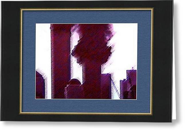 Wtc 11 Mixed Media Greeting Cards - Framed Inside Greeting Card by Kosior