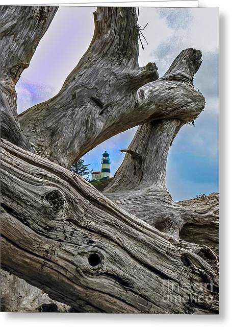 Lighthouse Photography Greeting Cards - Framed Lighthouse Greeting Card by Robert Bales
