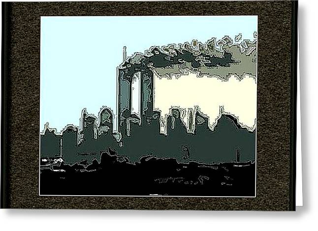 Wtc 11 Mixed Media Greeting Cards - Framed Outline Greeting Card by Kosior