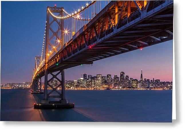 Starburst. Night Prints Greeting Cards - Framing San Francisco Greeting Card by Mihai Andritoiu