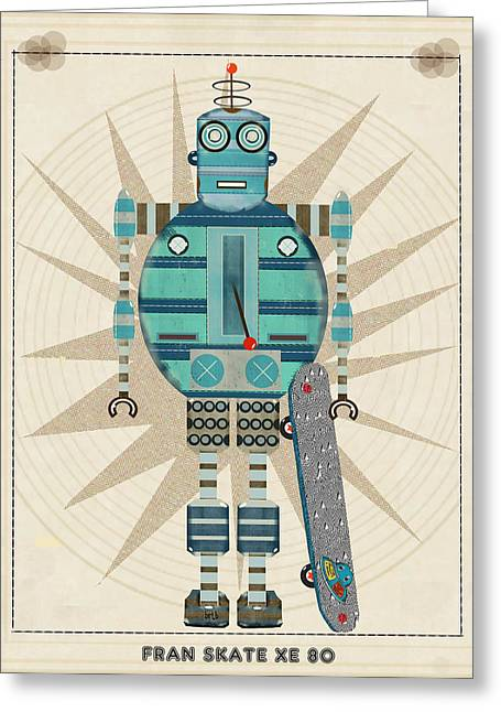 Skateboarding Greeting Cards - Fran Skate Xe 80 Greeting Card by Bri Buckley
