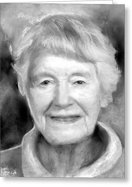 Senior Citizen Drawings Greeting Cards - Fran Greeting Card by Sue Tesin