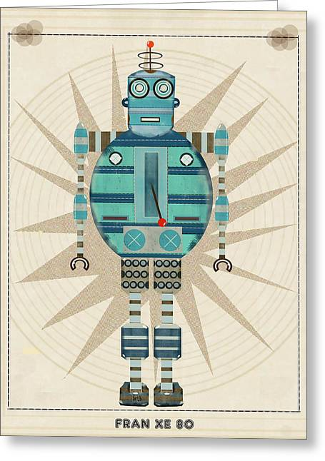 Skateboard Print Greeting Cards - Fran Xe 80 Greeting Card by Bri Buckley