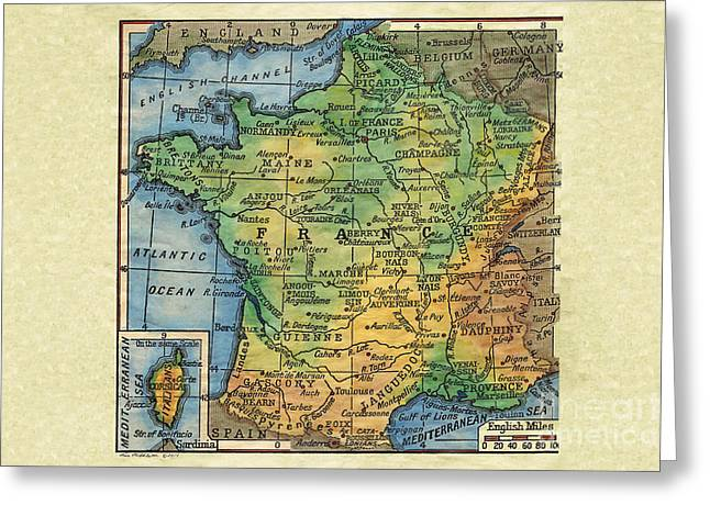 Map Of The Hand Greeting Cards - France 1906 Greeting Card by Lisa Middleton