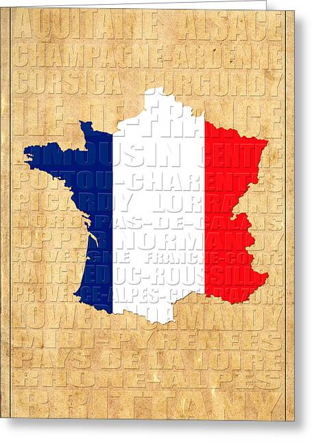 France Map Greeting Cards - France Greeting Card by Andrew Fare