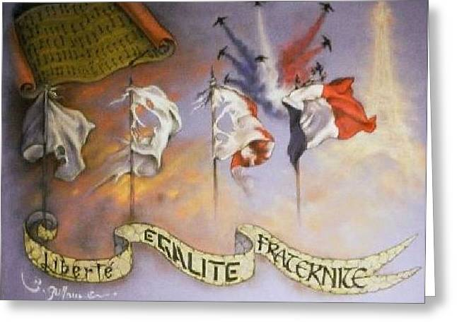 Sepia Chalk Greeting Cards - France Belle et Rebelle Un Greeting Card by Guillaume Bruno