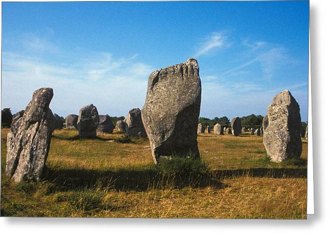 Stones Photographs Greeting Cards - France Brittany Carnac Ancient Megaliths  Greeting Card by Anonymous
