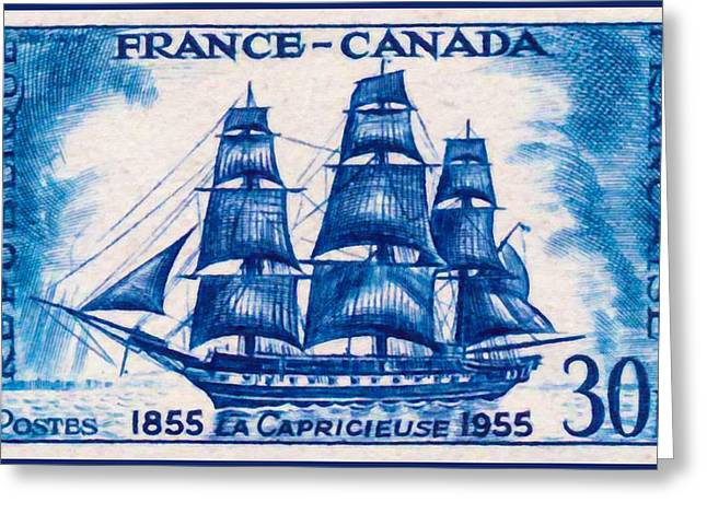 Sailboat Images Paintings Greeting Cards - France-canada Capricieuse 1855-1955 Greeting Card by Lanjee Chee