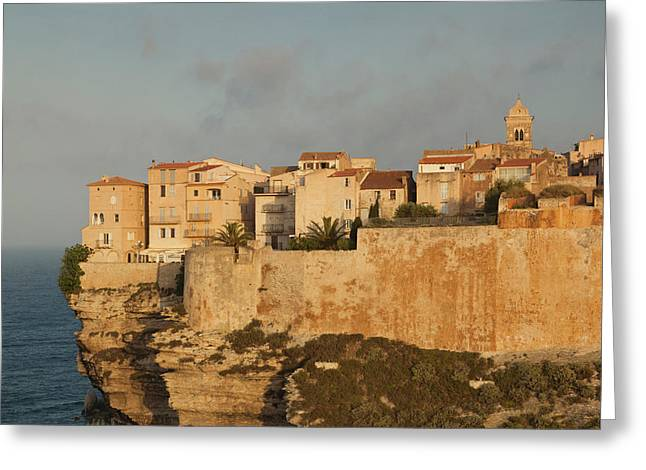 France, Corsica, Bonifacio, Cliffside Greeting Card by Walter Bibikow
